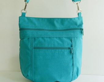 Sale - Teal Water Resistant Nylon Messenger Bag - Shoulder bag, Tote, Hip bag, Travel bag, Women - JOY