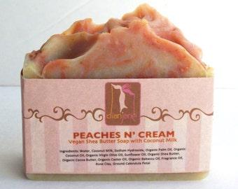 PEACHES n' CREAM peach soap -Organic Soap - Coconut Milk Soap -Bath and Beauty-Soap