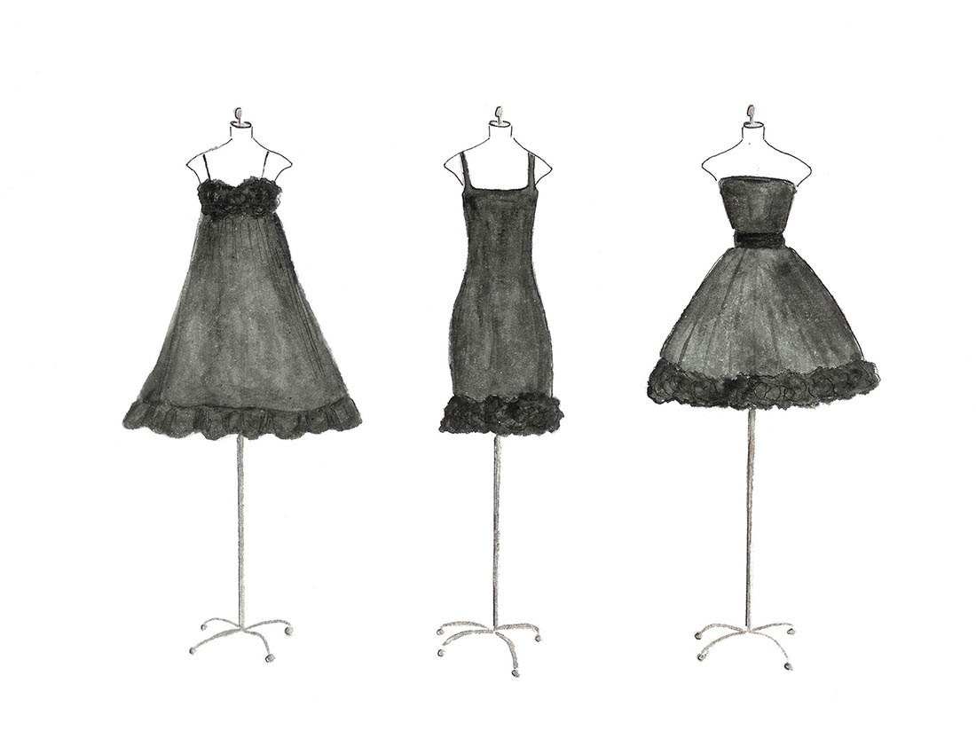 Three black dresses watercolor fashion illustration zoom amipublicfo Gallery