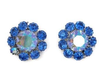 50s Rhinestone Earrings Vintage Large Blue Aurora Clip on