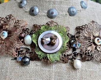 Antiqued Brass Filigree, Crystal, Pearl & Antique Button Bracelet
