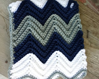 Crochet chevron baby blanket with holes for car seat straps, strollers, shopping cart, bouncer, baby swing, or anything with a buckle