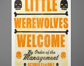 Halloween Printable- Halloween Poster- Little Werewolves Welcome by Order of the Management- Instant Download Printable Poster