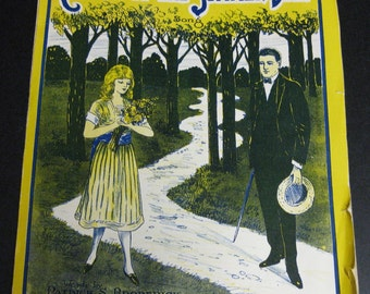 Frame Me Vintage Summer Day Sheet Music Yellow Navy 1924 Song Picture