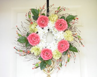 Rose Pink Wreath - Spring wreath - Summer Wreath - Pink Ranunculus - Year round wreath - Front Door Decoration