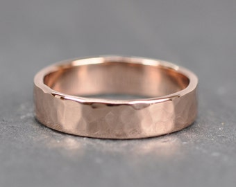 Rose Gold Mens Wedding Band, 5mm Wide Ring, 14K Hammered, Sea Babe Jewelry