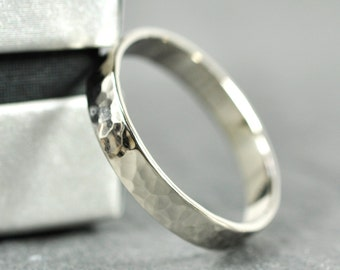 18K Palladium White Gold 4mm Wedding Band, Hand Forged, Hammered, Sea Babe Jewelry