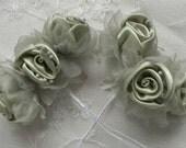 36pc Chic GREEN Satin Organza Ribbon Wired Rose Peony Flower Reborn Doll Bridal Wedding Bow Hair Accessory Applique