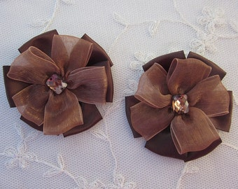 2pc Beaded w Stone Chocolate Brown Satin Organza Ribbon Flower Applique Baby Doll Bridal Corsage Bow
