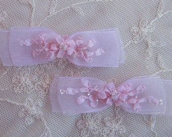 2pc Beaded Pink Organza Fabric Flower Bow Applique w Sequins Bridal Christening Ribbon Embroidered w Rose Bud Baby Doll Corsage