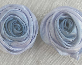2pc 2 inch Hand Dyed Blue Satin Ribbon Rose Flower for Bridal Hat Corsage Hair Accessory Pin