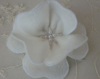 3 inch Antique WHITE Pearl Glass Beaded Felt Fabric Flower Applique Bridal Baby Hair Accessory