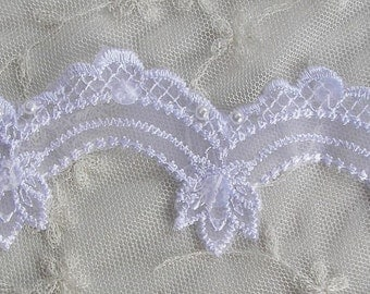 WHITE Beaded w Pearl Sequin Embellished Embroidered Organza Lace Christening Doll Bridal