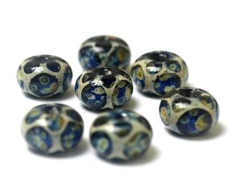 Seven Twilight Wonder Rondelle Beads 10506601 - Handmade Glass Lampwork Bead Set