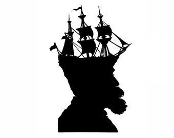 The Captain Nautical Silhouette Print Pirate Ship Black and White Beach House Decor