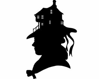 Original Handcut Le Chapeau Silhouette Papercut Black and White Hat House Home