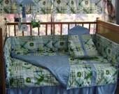John Deere kids Blue Plaid Mardas Baby  Crib Nursery Set FREE SHIPPING