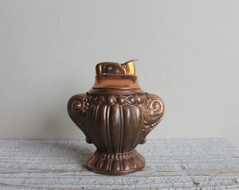 Vintage Mid Century Art Deco Design Urn Lighter, Evans, Copper, 3.50 Inches High