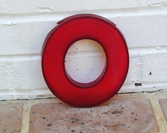 Vintage Letter O Vintage Marquee Letter O Hard Red Plastic O Sign 6 1/4 Inches Tall Vintage Sign