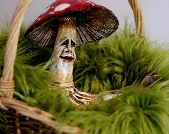 Large Mushroom Sculpture, Amanita Muscaria art doll, red capped mushroom, toadstool, fungi female art sculpture figurine