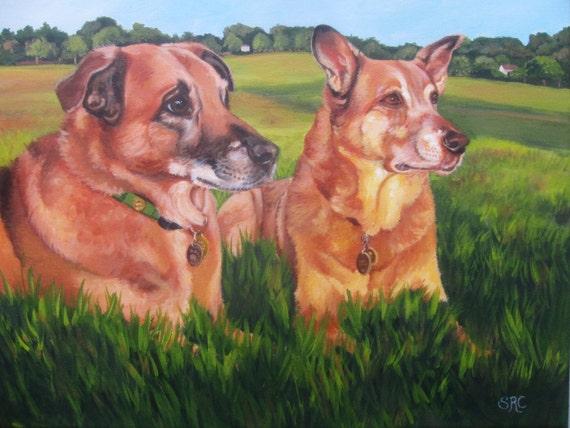 Custom Pet Portrait, Custom Dog Portrait, Dog Painting, custom size  11 x 14  (TWO Pets) Pet Home Decor, Dog Art, Painting from Photo