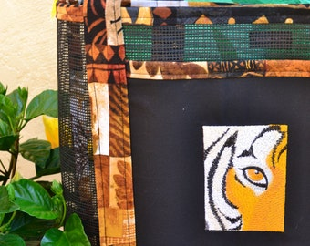 Tote Bag Embroidered Tiger Eye Africa Safari Savannah Print Fabric and Vinyl Mesh