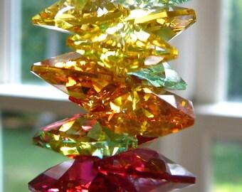 "Swarovski Crystal Leaf w/ Swarovski Octagons in Medley of Fall Colors - 45mm (1.8"") Clear Leaf Prism, Window Hanger, Rainbow Maker -""AUTUMN"""