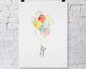 Bear and Balloons... Giclee Print of Illustration (8.5 x 11 inches).