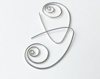 Silver Hoop Earrings Large Coil Hoops, Sterling Silver Long Open Hoop Earrings eco friendly Statement jewelry, Mesmer