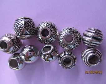 8 Shiny Metal Large Hole Beads Mixed Add A Bead  BH6