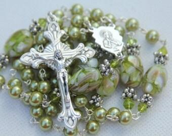 Green Pearl and Mother of Pearl Beaded Catholic Rosary, Handmade Catholic Rosaries, Custom Rosary, Handmade Jewelry, Custom Jewelry,