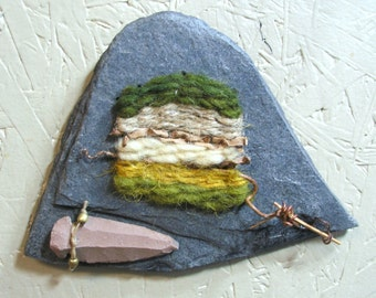 Miniature Fiber and Slate Wall Hanging by The Bent Tree Gallery SALE was 79.00