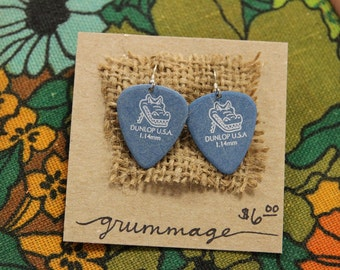 Blue Dunlop Alligator Guitar Pick Earrings