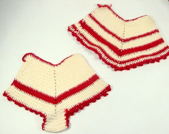 Vintage His and Hers Crochet Pot Holders, Mid Century, Retro, Red and White, Kitchen Decor, Set of Two