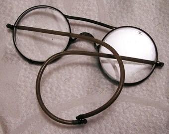 Vintage Steampunk Motoring or Safety Glasses. Beveled Glass Lenses (J6)