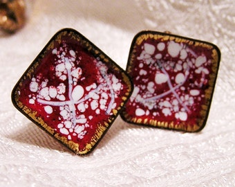 Vintage Red and White Speckled Enamel Copper Earrings (B5)
