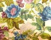 Vintage Screen Printed Linen Fabric Yardage..Vintage Textile..Floral Screen Print Linen..Designer Fabrics..Vintage Yardage