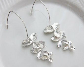 Dangling Orchid Silver Linear Earrings - bridal earrings, bridesmaid earrings, flower dangle earrings