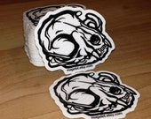 Domestic Cat Skull Sticker Created From Hand Drawn Art