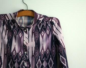 vintage 70s Purple Ikat Womens Blouse Polyester Southwest Shirt- M