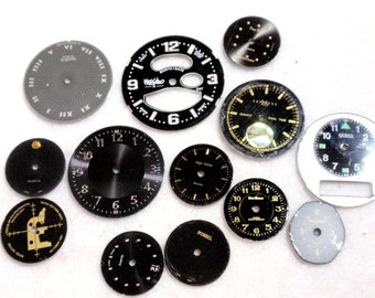 Steam Punk Supplies Vintage Rescued Watch Faces Scrapbooking Assemblage Mixed Media Grey and Black A5