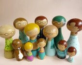 Full Portrait Peg Family of 12 Wooden Dolls grandparents, parents, children, aunts, uncles, niece, nephew FREE SHIPPING