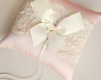 Blush Ring Bearer Pillow - Ivory and Blush Lace Ring Bearer Pillow - READY TO SHIP