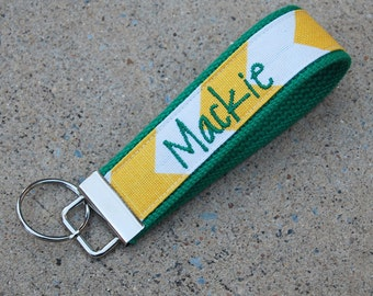 Kelly Green and Yellow/Gold Key Fob