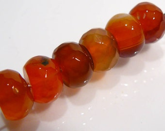 6 Beads....Striped  Red Agate Faceted Rondelle Gemstone Beads....10x7mm...BB
