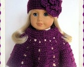 Handmade Doll Clothes Made To Fit American Girl, Crochet Poncho Set Large Flower Hat, Beautiful Color Passion, Plum