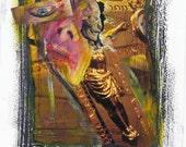 Original Art Outsider Mixed-Media Paint Collage Christ Religion Surreal Brut Punk Underground ANDRESS