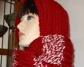 50% Off  -  Hooded Scarf in Crimson Red and Winter White