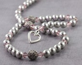 Smoke Gray Pearl Necklace Pink Dusty Rose Mauve Pastel Crystal Sterling Silver Bridal Jewelry Heart Clasp