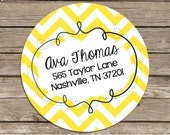 Chevron Buzz -address labels or name or party stickers---choose color--choose glossy or matte